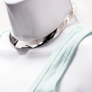 New Real Silver High Polish Choker Collar Necklace